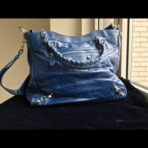 Balenciaga giant Leather Tote-Cobalt blue&Silver